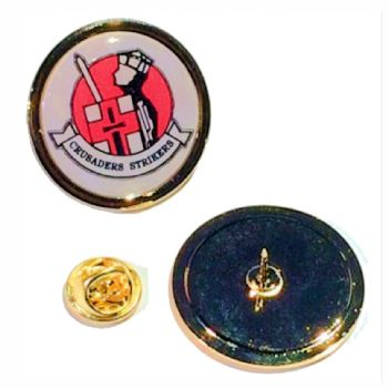 Superior Badge 25mm round gold clutch and printed dome
